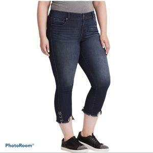 TORRID skinny ankle crop jeans with ring detail
